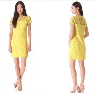 Dvf Barbie yellow overlay lace dress sz 4